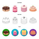 Sweetness, dessert, cream, treacle .Cakes country set collection icons in cartoon,outline,flat style vector symbol stock. Illustration Stock Images
