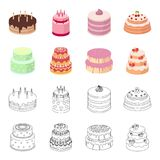 Sweetness, dessert, cream, treacle .Cakes country set collection icons in cartoon,outline style vector symbol stock. Illustration Royalty Free Stock Images