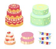 Sweetness, dessert, cream, treacle .Cakes country set collection icons in cartoon style vector symbol stock illustration Royalty Free Stock Photo