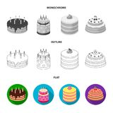 Sweetness, dessert, cream, treacle .Cakes country set collection icons in flat,outline,monochrome style vector symbol. Stock illustration Stock Photography
