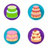 Sweetness, dessert, cream, treacle .Cakes country set collection icons in flat style vector symbol stock illustration.  Stock Images