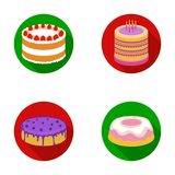 Sweetness, dessert, cream, treacle .Cakes country set collection icons in flat style vector symbol stock illustration.  Stock Image