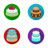 Sweetness, dessert, cream, treacle .Cakes country set collection icons in flat style vector symbol stock illustration.  Royalty Free Stock Photography