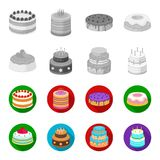 Sweetness, dessert, cream, treacle .Cakes country set collection icons in monochrome,flat style vector symbol stock. Illustration Royalty Free Stock Images