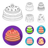 Sweetness, dessert, cream, treacle .Cakes country set collection icons in outline,flat style vector symbol stock. Illustration Stock Image