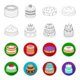 Sweetness, dessert, cream, treacle .Cakes country set collection icons in outline,flet style vector symbol stock. Illustration Royalty Free Stock Photography