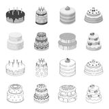Sweetness, dessert, cream, treacle .Cakes country set collection icons in outline,monochrome style vector symbol stock. Illustration Royalty Free Stock Photography