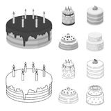 Sweetness, dessert, cream, treacle .Cakes country set collection icons in outline,monochrome style vector symbol stock. Illustration Stock Photos