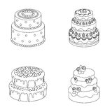 Sweetness, dessert, cream, treacle .Cakes country set collection icons in outline style vector symbol stock illustration. Sweetness, dessert, cream, treacle Royalty Free Stock Photo