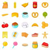 Sweetness icons set, cartoon style. Sweetness icons set. Cartoon set of 25 sweetness vector icons for web isolated on white background Royalty Free Stock Images