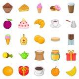 Sweetness icons set, cartoon style. Sweetness icons set. Cartoon set of 25 sweetness vector icons for web isolated on white background Stock Photography