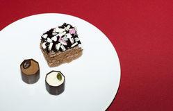 Sweetness lie on a white plate. Royalty Free Stock Photo