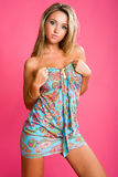 Sweetness sexy blond in nice short dress Stock Photography