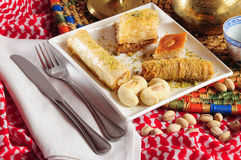 Sweets. Arabic sweets with ethnic decoration stock images