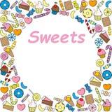 Frame of sweets for registration of photographs, advertising brochures. Vector frame of sweets for registration of photographs, advertising brochures stock illustration