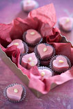 Sweets. Sweet hearts from white chocolate in gift box Royalty Free Stock Images
