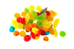 Sweets. Colorful sugar coated jujubes candy. christmas treats white background Royalty Free Stock Images