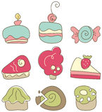 Sweets. An illustration of cakes, muffins, pastry etc Royalty Free Stock Photo