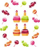 Sweets. Bright, fruit cakes, sweets and candies Stock Image