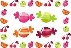Sweets. Bright fruit candy fruit and berries Royalty Free Stock Images