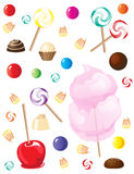 Sweets. A selection of sweets and candies isolated on white background Royalty Free Stock Images