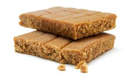 Sweets. Chunks of sweet fudge isolated on white royalty free stock image