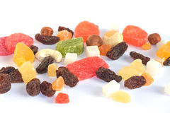 Sweets. Dried fruits, raisins and nuts on white backgroud royalty free stock photo
