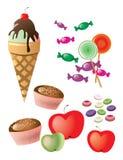 Sweets. Desert ice cream apples lollipop Stock Images
