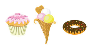 Sweets. A set from muffin, an icecream and a donut Royalty Free Stock Photos