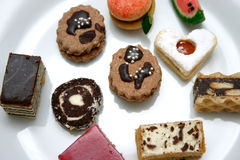 Sweets. Various Sweets on Plate Royalty Free Stock Image