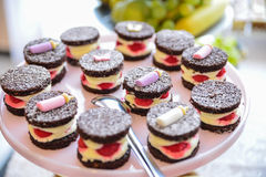 Sweets arrangements for wedding reception or similar events. Restaurant event food accessories decoration royalty free stock images