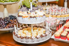 Sweets arrangements for wedding reception or similar events. Restaurant event food accessories decoration Stock Photos
