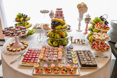 Sweets arrangements for wedding reception or similar events Stock Photos