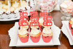 Sweets arrangements for wedding reception or similar events Royalty Free Stock Images
