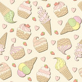 Sweets background. Seamless background with cakes and ice creams Stock Photos