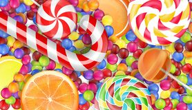 Sweets background with a pile candy Royalty Free Stock Photo
