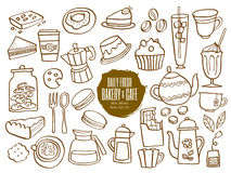 Sweets bakery cafe coffee drinks doodles. Set of hand drawn sweets bakery cafe coffee drinks doodles Royalty Free Stock Photography