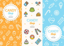 Sweets and Bakery Candy Banner Flyer Vertical Set. Vector Royalty Free Stock Photography