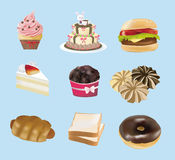 Sweets, Bakery, and Fast Food collection Royalty Free Stock Images