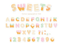 Sweets bakery font design. Funny latin paper cutout alphabet letters and numbers made of ice cream, chocolate, cookies. Candies. For kids birthday anniversary vector illustration