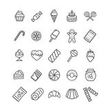 Sweets and Bakery Icon Black Thin Line Set. Vector. Sweets and Bakery Icon Black Thin Line Set Ready for Your Business. Vector illustration Royalty Free Stock Photos
