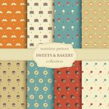 Sweets and bakery seamless pattern Stock Photos
