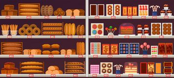 Sweets and bakery stall or showcase at shop. Stall or stand at shop or store. Showcase of bread and confectionery with prices on labels. Vector interior of vector illustration