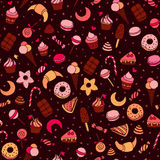 Sweets and baking dessets hand drawn seamless patten Royalty Free Stock Image