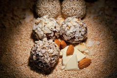 Sweets balls with walnuts Royalty Free Stock Images