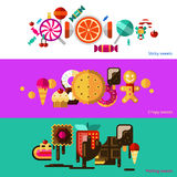Sweets Banners Set. Sweets horizontal banners set with sticky crispy and melting sweets flat isolated vector illustration Royalty Free Stock Images