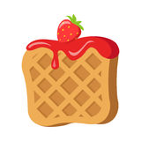Sweets. Belgian Waffle with Red Strawberry Cream Royalty Free Stock Images