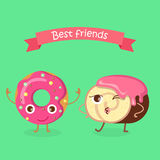 Sweets. Best Friends. Doughnut and Swiss Roll Royalty Free Stock Images