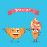 Sweets. Best Friends. Smiling Croissant and Cake Stock Photos