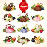 Sweets big set. Big decorative sweets dessert food set with chocolate berry and vanilla cream vector illustration Royalty Free Stock Images